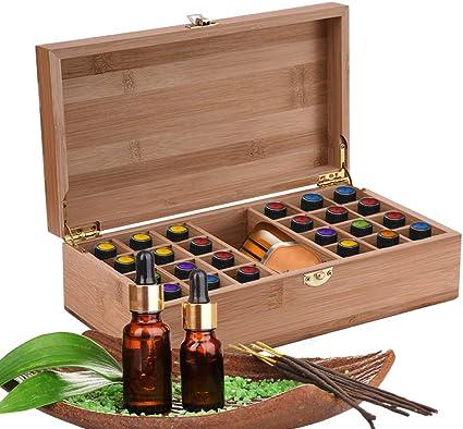 Caja de Bambú de Almacenamiento de Aceite Esencial de 25 Ranuras - Almacenamiento 5 a 10 ml de Botellas de Aceites Esenciales y Perfume #1: Amazon.es: Salud y cuidado personal