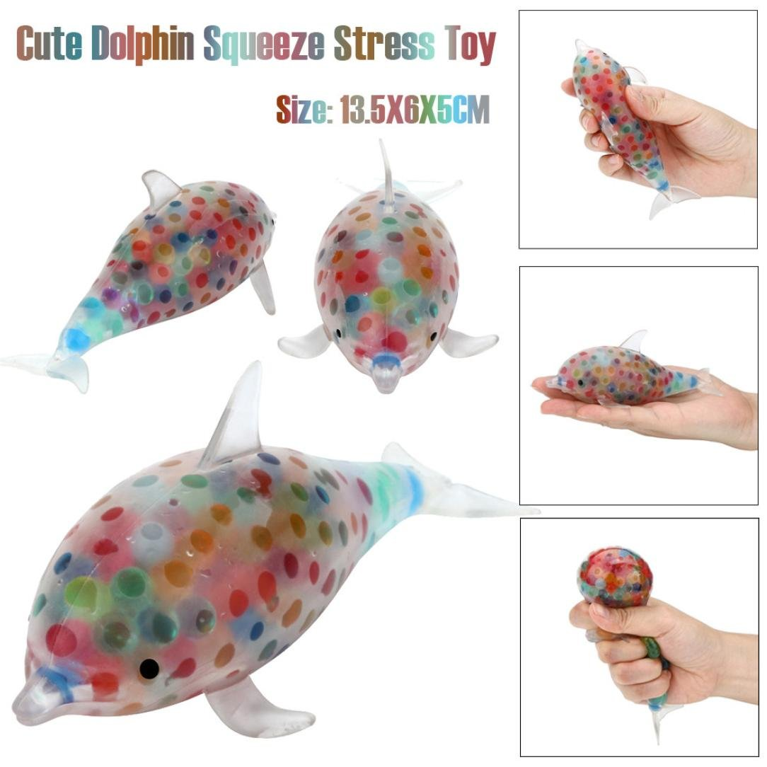 Livoty Beautiful Spongy Dolphin Bead Stress Ball Toy Squeezable Stress Toy Stress Relief Ball (Multicolor)