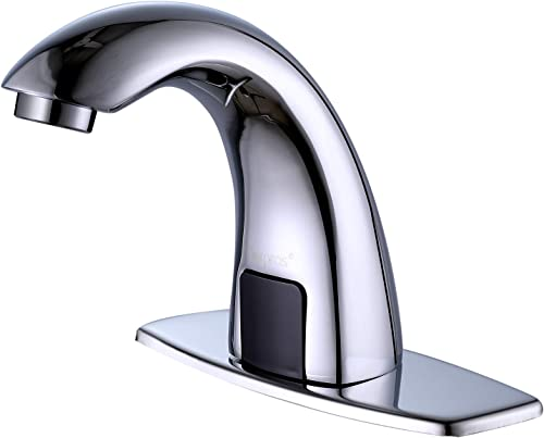 Derpras Upgrading Version Automatic Sensor Touchless Sink Faucet with Hole Cover Plate, Hands Free Bathroom Faucets with Hot Cold Mixer Control, Chrome