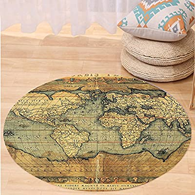 VROSELV Custom carpetWorld Map Ancient Old Chart Vintage Reproduction of 16th Century Atlas Print for Bedroom Living Room Dorm Sand Brown Slate Blue Round 24 inches