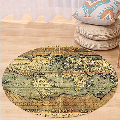 VROSELV Custom carpetWorld Map Ancient Old Chart Vintage Reproduction of 16th Century Atlas Print for Bedroom Living Room Dorm Sand Brown Slate Blue Round 79 inches 16th Century Rug