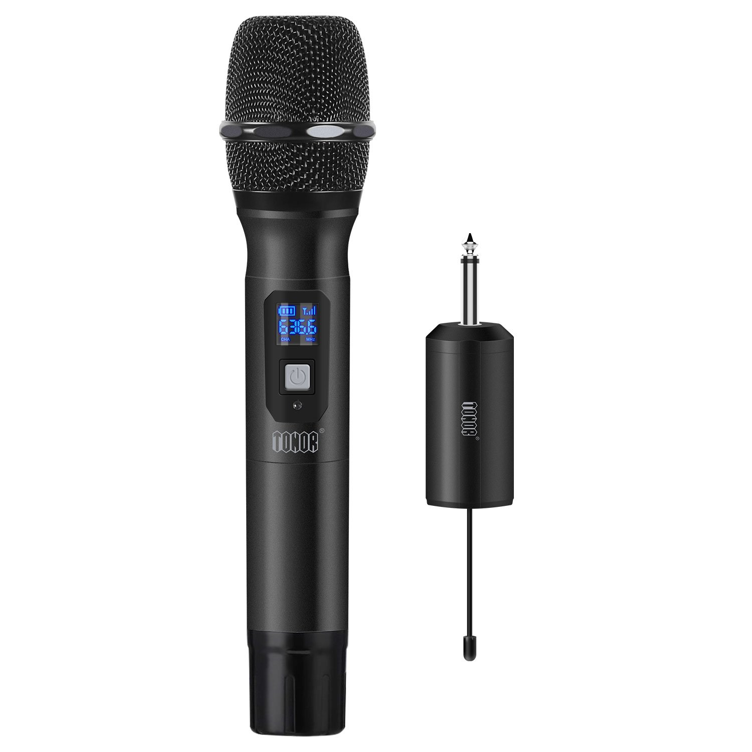 TONOR Wireless Microphone Handheld Mic UHF 25 Channel with Mini Receiver 1/4'' Output for Stage/Church/Karaoke/Party/Business Meeting/PA Systems, Black