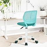 Chaise de bureau Fauteuil de bureau Plastique PP Maille Pied Métal Hauteur Réglable sur Roulettes Pivotantes Turquoise Blanc