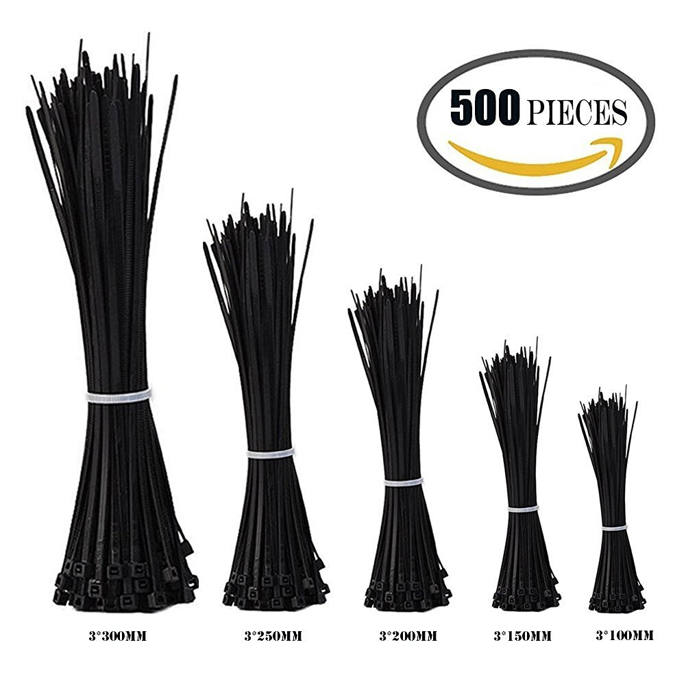 ZesGood Nylon Cable Zip Ties, 4 6 8 10 12 Inches, 500 Pieces, Perfect for Home / Office / Garage / Workshop