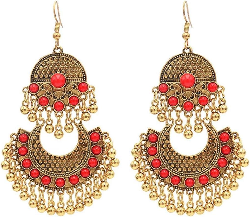 Beaums Las Mujeres largas Pendientes exageradas Borla de África Piedra Preciosa del Estilo de Boho del oído de la joyería Espárragos Gitana