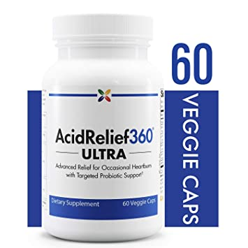 Advanced Occasional Heartburn Relief with Targeted Probiotic Support - AcidRelief360 Ultra with GutGard and Probiotics -