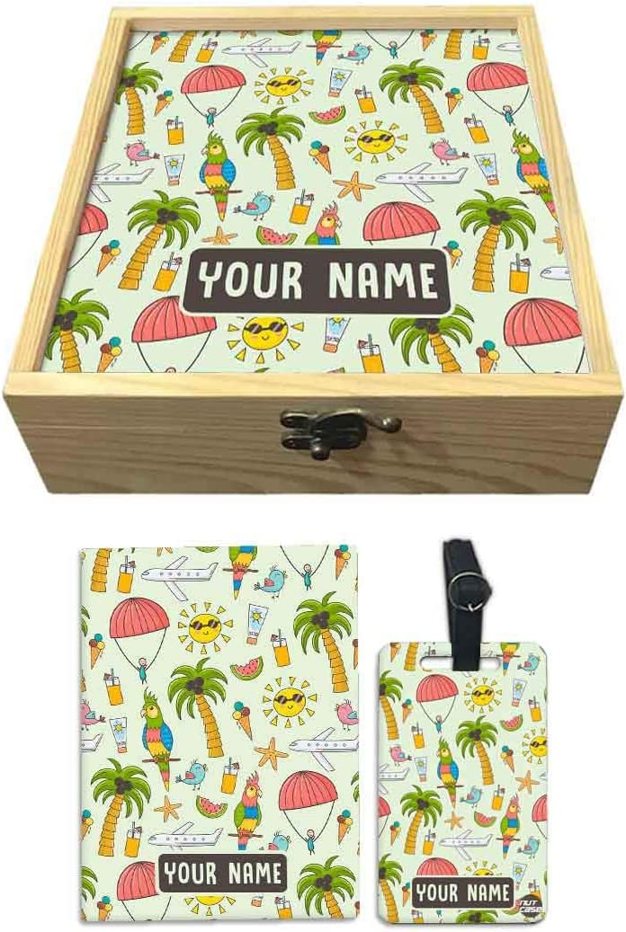 Nutcase Personalized Passport Holder Cover Gift Set With Matching Luggage Tag Customized Gifts for Kids And Wooden Box Gifts Set Summer Time