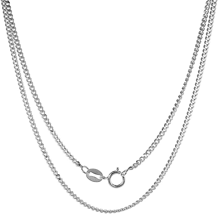 16-30 inch 2mm Curb Chain 3//4 inch Sterling Silver Block Initial N Necklace Alphabet Letters High Polished