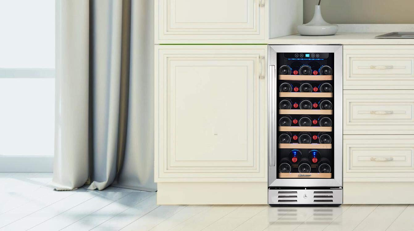 Kalamera 15 Wine Cooler 30 Bottle Built-in or Freestanding with Stainless Steel /& Double-Layer Tempered Glass Door and Temperature Memory Function