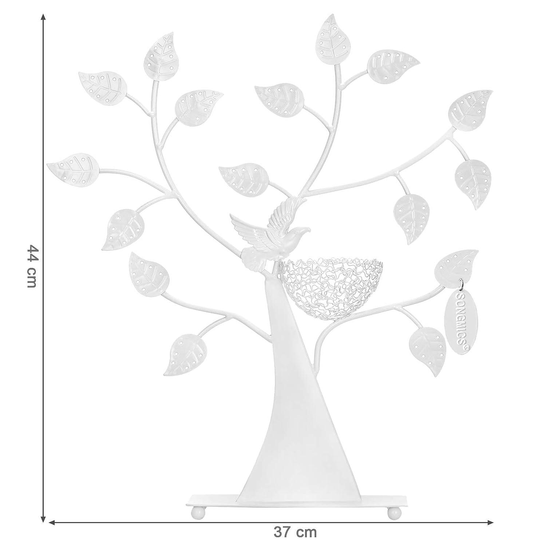 SONGMICS Expositor de Pendientes Anillos Pulseras Soporte para Joyer/ía Dise/ño de /árbol Blanco JDS065