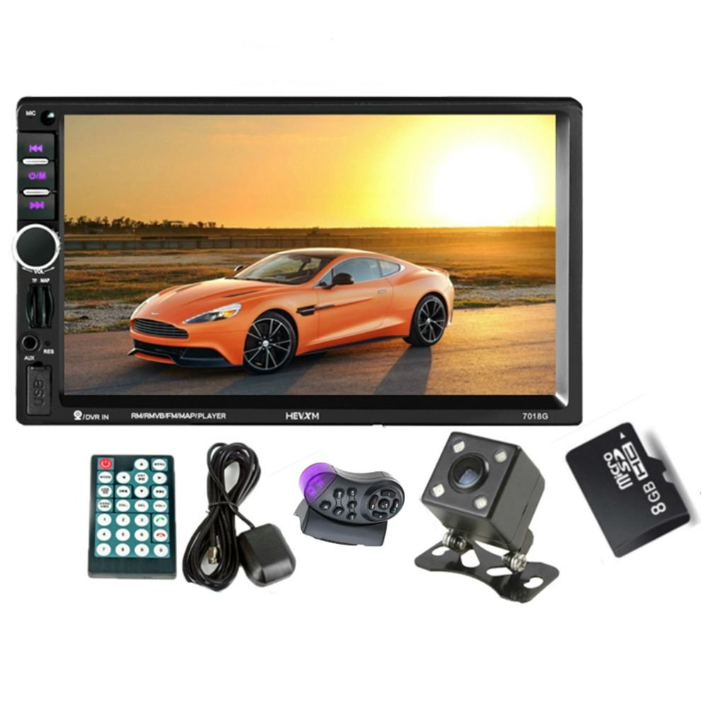 Toogoo GPS Navigation 2 Din Car Bluetooth Radio Multimedia Mp5 Player 7 inch Touch Screen with Camera+Europe Map+Steering Wheel Control