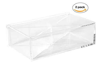 Amazoncom Clear Lucite Plastic Box 4 Section With Hinged Lid