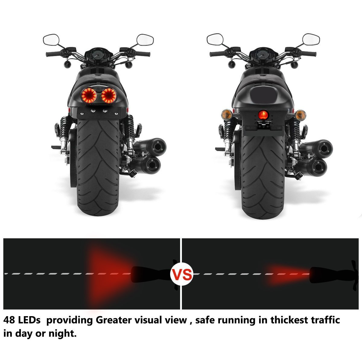 Greenclick 40w Motorcycle Tail Lights Universal Led Turn Circuit Project 40 Bicycle Light Signal And Brake With License Plate Bracket For Harley Honda Yamaha Suzuki