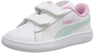 online store 49b53 c7791 Puma Smash v2 L V Inf, Sneakers Basses Mixte Enfant, Blanc White-Fair Aqua