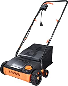 Hattomen Lawn Mower, 12 Inch Working Width, 11 Amp Electric Lawn Mower With a Replacement Raking, 4 Central Adjustable Cutting Heights, Tool-Free Assembly, 8 Gallon Grass Collection Bag