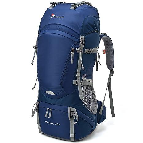 eef2d2a94b MOUNTAINTOP 60/65L Zaino Trekking Impermeabile Escursionismo Montagna  Campeggio Alpinismo Viaggio (65L-Blu