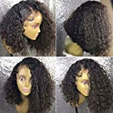 Ten Chopstics Wig Full 180% Density Short Curly 360 Lace Frontal Wigs Human Hair Wigs for Black Women Glueless Bob Brazilian Hair Wigs with Baby Hair Side Part Pre plucked in Stock