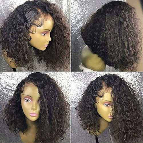 Ten Chopstics Wig Full 180% Density Short Curly 360 Lace Frontal Wigs Human Hair Wigs for Black Women Glueless Bob Brazilian Hair Wigs with Baby Hair Side Part Pre plucked in Stock by Ten Chopstics