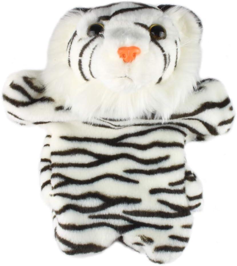 Andux Marioneta de Felpa Linda Juguete de Peluche Suave (SO-22 Tigre-Líneas Blancas y Negras)