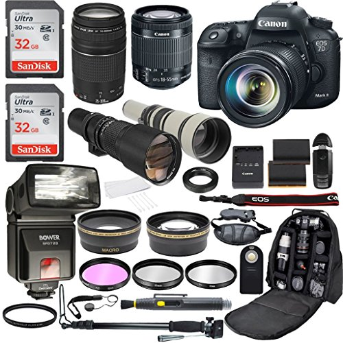Canon EOS 7D Mark II 20.2MP CMOS Digital SLR Camera with EF-S 18-55mm IS STM & EF 75-300mm f/4-5.6 III + 500mm Preset Telephoto Zoom + 650-1300mm Telephoto Lens + Accessory Bundle (21 Items) For Sale
