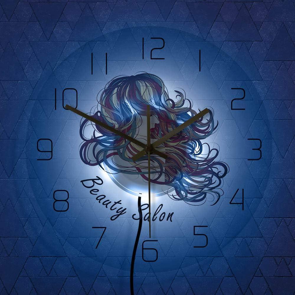 jiushixw Reloj de Pelo Largo Femenino de Moda Sexy con Muchos Colores decoración salón de Belleza salón Reloj de Pared Modelo de Peinado máquina de peluquería Regalo para el Cabel