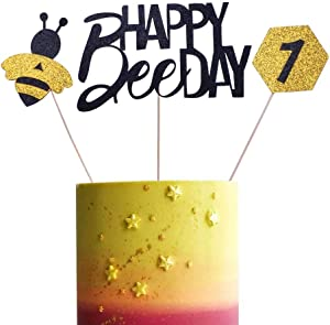 SHAMI Happy Bee Day Cake Topper ONE cake topper Bumble Bee Cupcake Toppers for Bee Themed Happy Birthday Party Baby Gender Reveal Party Baby Shower First Decoration