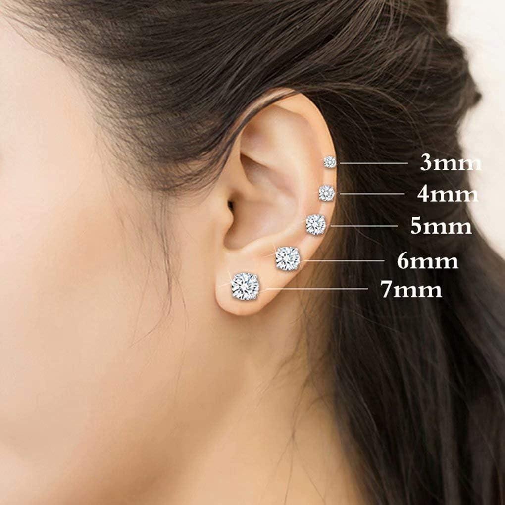 Fashion 925 Sterling Silver Pricess Cut Cubic Zirconia Stud Earrings 3mm 4mm 5mm 6mm 7mm for women men Sterling Silver Stud Earrings