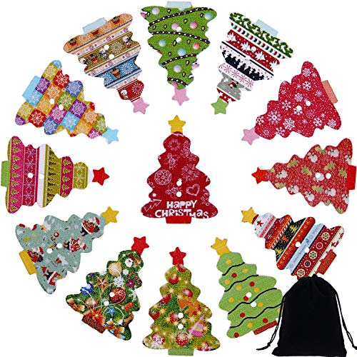 (Jovitec 150 Pieces 2 Holes Christmas Tree Buttons Mixed Patterns Wooden Decoration Buttons with Pouch for Sewing DIY Crafts)