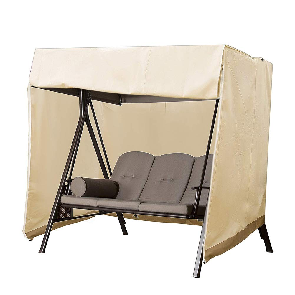 Amazon.com : QEES Patio Swing Cover, Heavy Duty 3 Triple Seater Hammock  Cover, Glider Canopy Cover, Patio Furniture Cover Waterproof JJZ151 (Beige)  : Garden ...