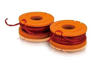 Worx WA0004 Replacement 10-Foot Grass Trimmer/Edger Spool Line 2-Pack for WG150s, WG151s, WG152, WG155, WG165, WG166, WG160, WG167, WG175