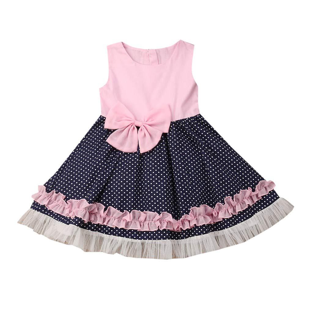 NUWFOR Children Kids Baby Girls Sleeveless Bow-Knot Wave Print Princess Vest Dress(Pink,6-12 Months)