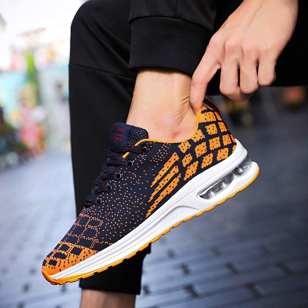 ♚Deadness Fashion Running Shoes for Men Trend Lace Up Mesh Breathable Wild Sport Shoes Damping Air Cushion Sneakers Orange