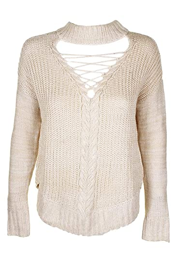 72e7cedb3 American Rag Juniors Beige Lace-Up Cutout Mock-Neck Sweater at Amazon  Women s Clothing store