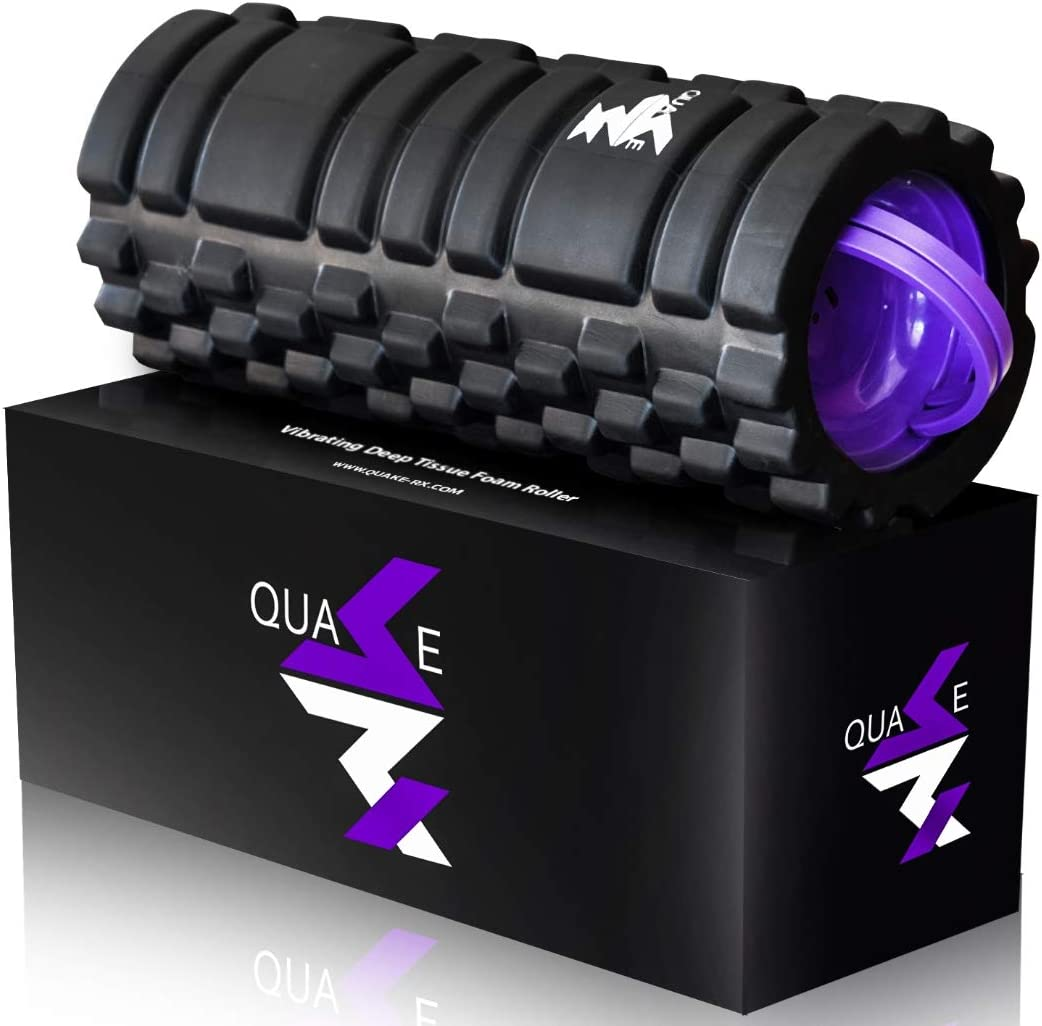 Vibrating Foam Roller by QuakeRx- High Intensity Vibration for Recovery, Mobility, Pliability Training and Deep Tissue Trigger Point Sports Massage Therapy – Firm Density Electric Back Massager