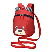 Kid Toddler Safety Harness Anti lost Bear Backpack With Leash Bear for Boy Girl (Red)