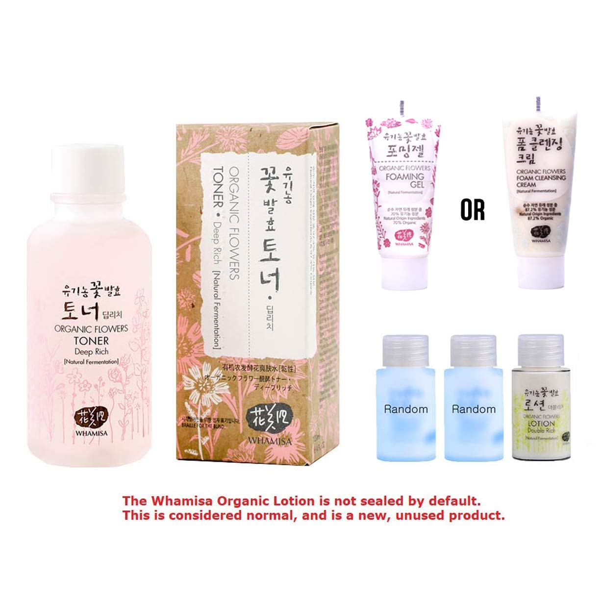 Whamisa [ Korean Skin Care Kit ] Organic Flowers Deep Rich Essence Toner 120ml / Double Rich Lotion 20ml / Cleansing Foam 20ml and 2 more Organic Random Miniatures - Naturally fermented, EWG Verified by Whamisa