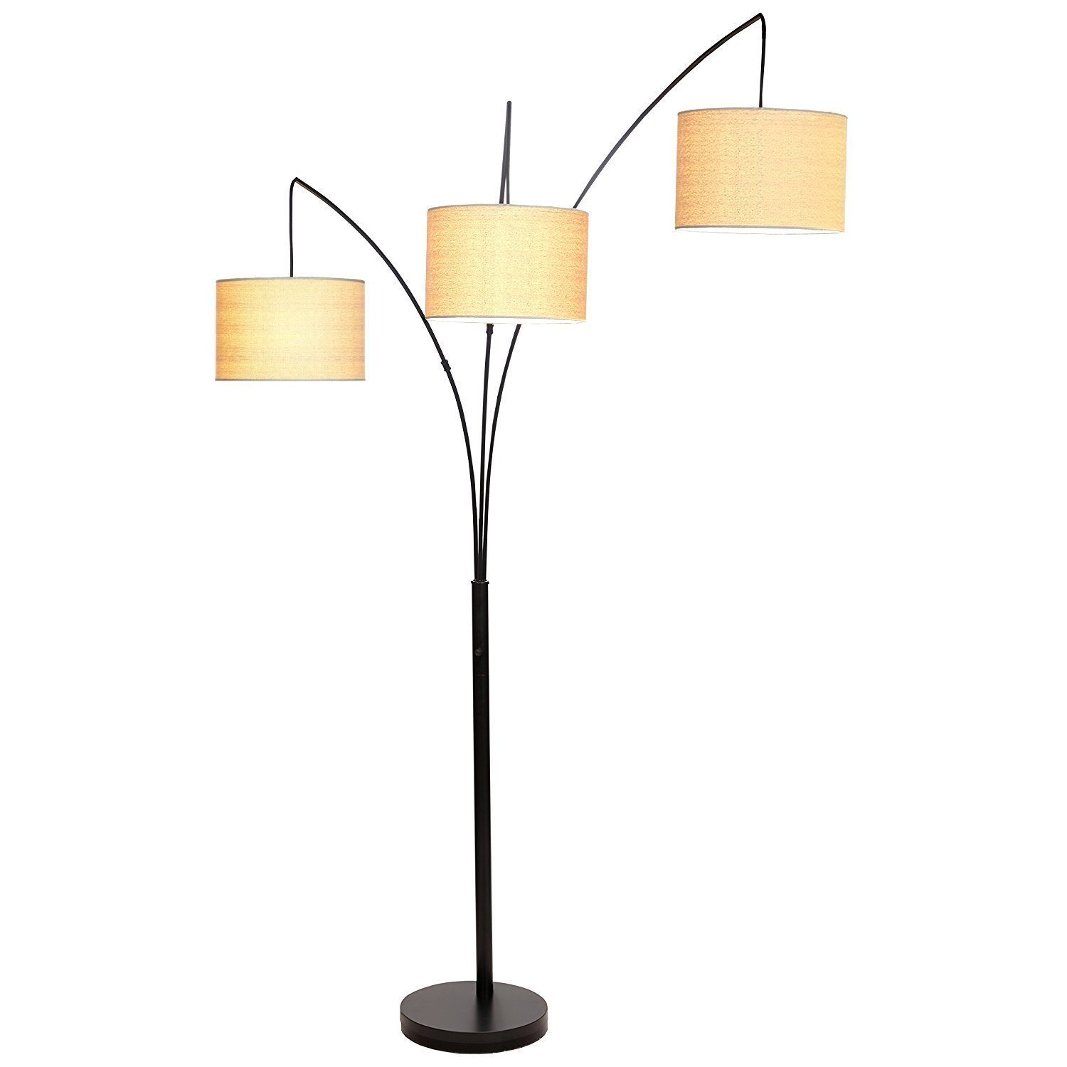 Brightech – Trilage LED Floor Lamp – Contemporary Stylish Elegance in a Black Finish – Sleek Metal Stand with Open Burlap Shades - Includes Brightech's LED 9.5-Watt Bulb - Beige Shade