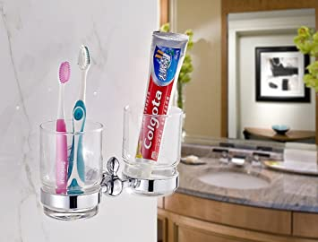 CNBBGJ Cuarto de baño, cuarto de baño colgante hardware porta cepillo de dientes, cepillo de copa europea cup,Chrome: Amazon.es: Hogar