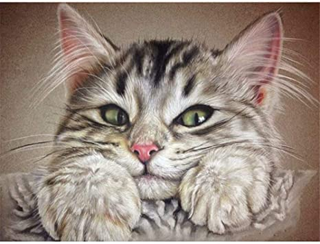 Kit de pintura al óleo por número, pintura por números para dibujar con pinceles, apto para todos los niveles de habilidad 40 x 50 cm, familia de gatos blancos: Amazon.es: Juguetes y