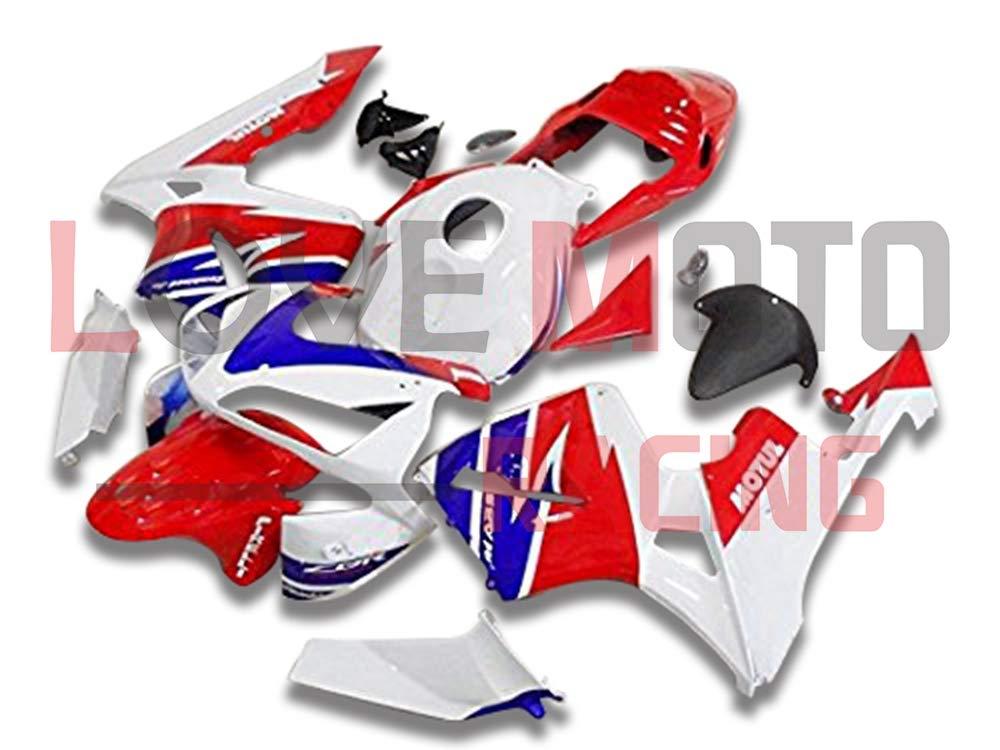 LoveMoto ブルー/イエローフェアリング ホンダ honda CBR600RR F5 2003 2004 03 04 CBR600 RR F5 ABS射出成型プラスチックオートバイフェアリングセットのキット レッド ホワイト   B07KCNTT5X