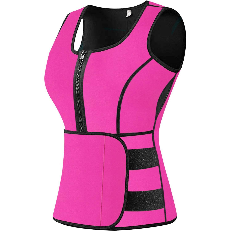 Sweat Vest Waist Trainer for Women Weight Loss Neoprene Sauna Slimming Vest with Adjustable Waist Trimmer Belt BWC