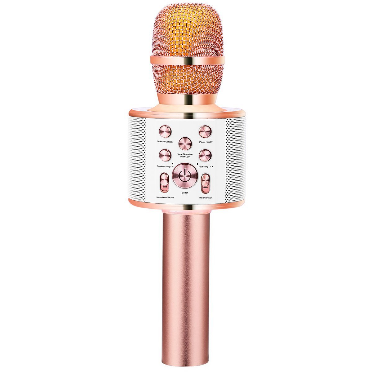 [Upgraded] VERKB Wireless Karaoke Microphone with Speaker Q10 Plus, Portable Bluetooth Singing Machine for iPhone Android Smartphone Home KTV, Birthday Party, Gift Idea (Rose Gold)