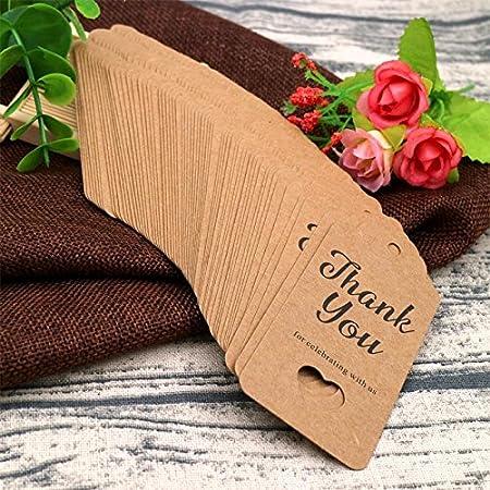 G2PLUS 100Stk Geschenk Anh/änger 4.5 cm 9.5 cm kraftpapier Etiketten Tags Geschenkanh/änger Anh/änger Etiketten mit Jute-Schnur 30 Meter Schwarz - Thank You