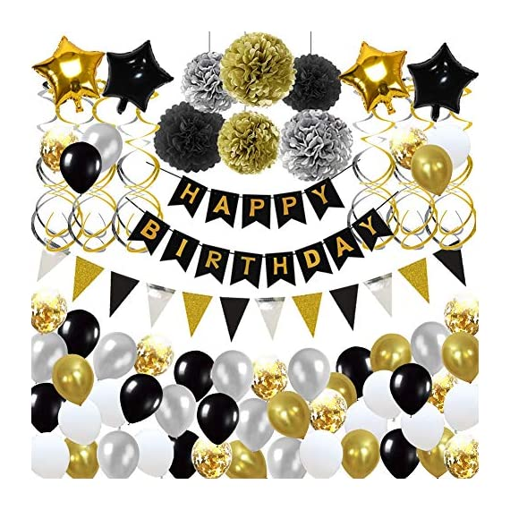 - 61IHTlvIBcL - Birthday Decorations,Birthday Party Supplies include 113Pcs Banners Triangular Flag Hanging Swirls Paper Pompoms Pentagram Balloons Black and Gold Balloons for 20th 30th 40th 50th 60th 70th Party Supplies