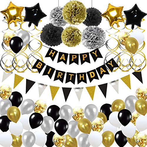 Birthday Decorations,Birthday Party Supplies include 113Pcs Banners Triangular Flag Hanging Swirls Paper Pompoms Pentagram Balloons Black and Gold Balloons for 20th 30th 40th 50th 60th 70th Party -