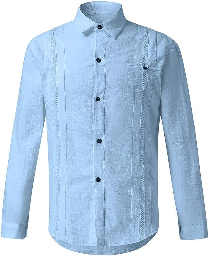 kaifongfu Mens Slim Fit Button Down Shirts Casual Office Shirt Top Long Sleeve Blouse