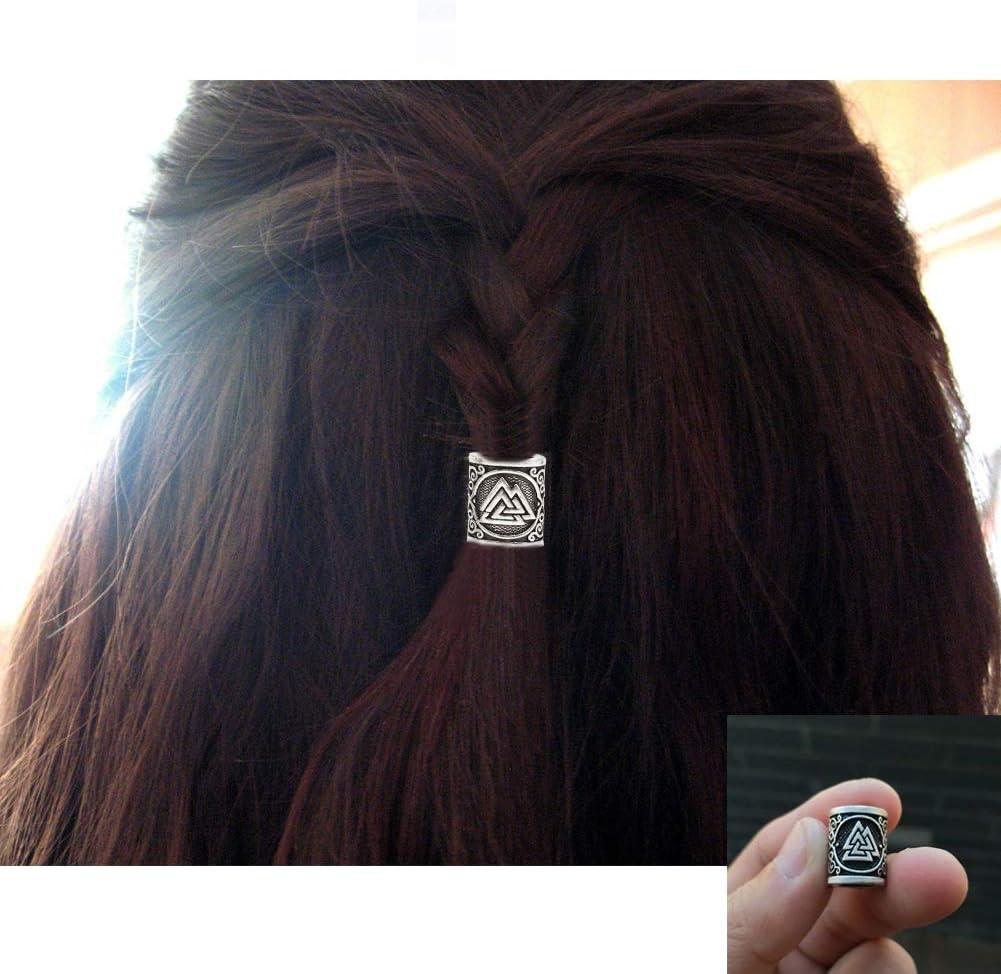 ,3PcsSilver Argent NICEWL 10 Pi/èces Noeud Celtique Rune Barbe Perles-Norrois Viking Style Gothique Hommes Cheveux Tressage Accessoires Perle Irlande Dames De La Mode Bricolage Bracelet Talisman