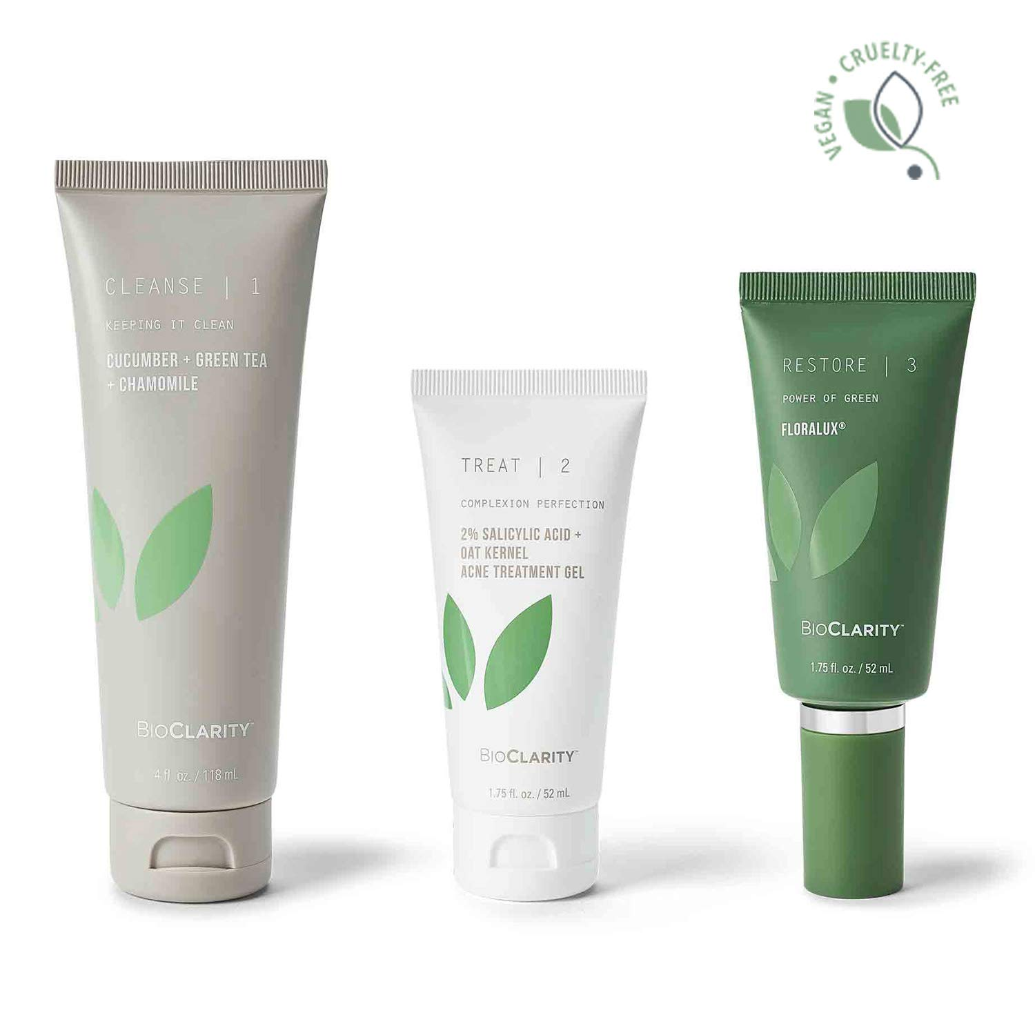 bioClarity Clear Skin Routine (60 day) 3-Step Kit for Oily or Acne-prone Skin   100% Vegan, Fight Acne & Soothe Skin
