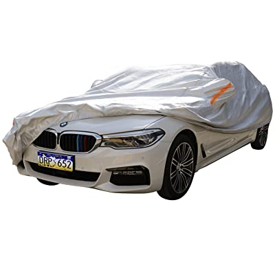 "XYZCTEM Car Cover-Silver 6-Layer 100% Waterproof Aluminum All Weather Protects Paint from Snow, Ice, Rain, Birds, UV and Heat,for Auto Vehicle Indoor Outdoor Use (195"" to 210\"")-XXL: Automotive [5Bkhe2013823]"
