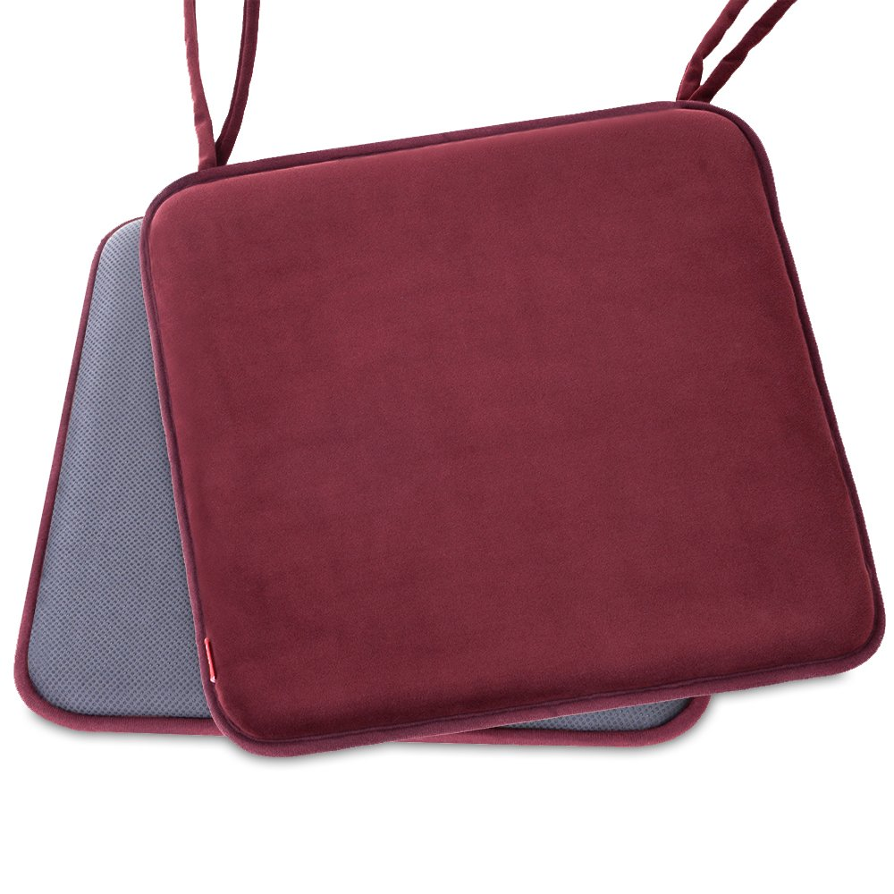 Shinnwa Dining Chair Pads,2 Pack Non Slip Memory Foam Kitchen Chair Cushions Pads with Ties and Gripper Backing by (16'' Square,Velvet Burgundy)